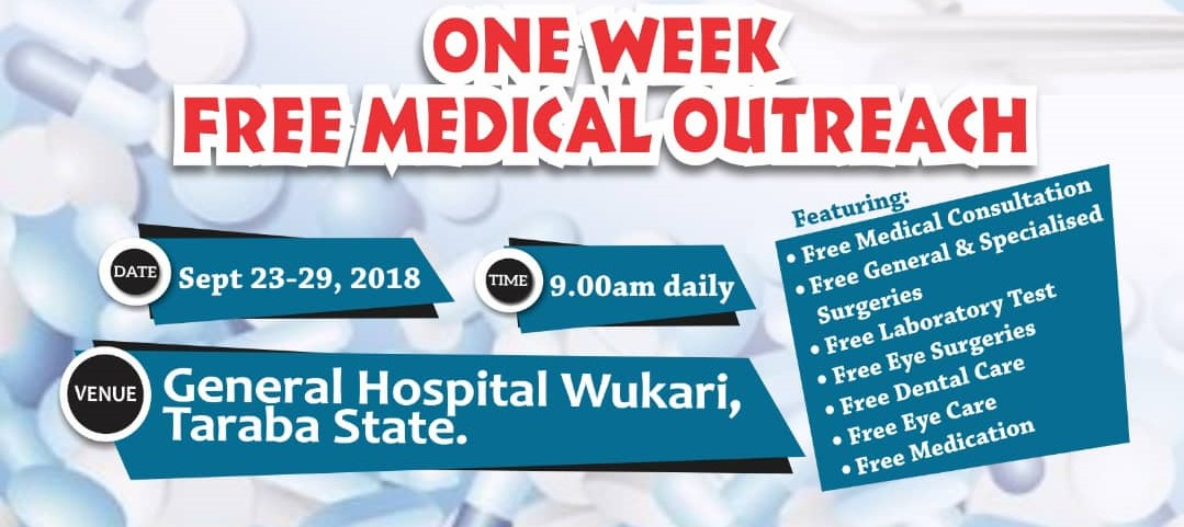 TY Danjuma Foundation in partnership with Pro-Health International brings free one week medical outreach to Wukari